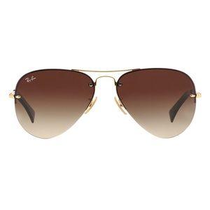 Ray Ban Rimless Aviator Sunglasses Style 3449 Gold